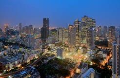 Sathorn Skyscraper. Beautiful twilight of Sathorn, The economies of Bangkok, Thailand Stock Photo