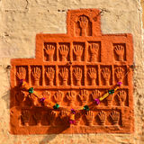 Sati Handprints in Mehrangarh Fort, Jaipur, Rajasthan. Hand prints of Queens who immolated themselves in the King's funeral pyre stock image