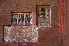 Sati Pratha, impressioni della palma delle regine reali all'entrata della fortificazione di Junagarh, Bikaner, Ragiastan, India fotografie stock libere da diritti