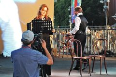 Sati Spivakova at public concert. The Red Square Book Fair in Moscow. royalty free stock image
