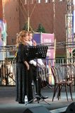 Sati Spivakova at public concert. The Red Square Book Fair in Moscow. Sati Spivakova at public concert. Actors read famous literature books. The Red Square Book royalty free stock images