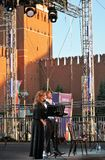 Sati Spivakova at public concert. The Red Square Book Fair in Moscow. stock image