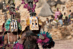 Satibe mask and the Dogon dance, Mali. The Dogon are best known for their mythology, their mask dances, wooden sculpture and their architecture Royalty Free Stock Image