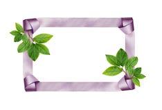 Satijnkader en groene bladeren Royalty-vrije Stock Afbeeldingen