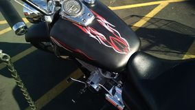 Satin black motorcycle paint pinstripes Royalty Free Stock Photo
