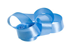 Satin blue ribbon Stock Photos