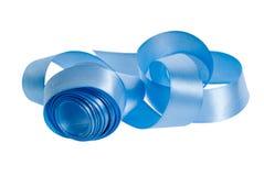 Satin blue ribbon Stock Image