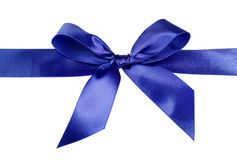 Satin blue ribbon bow Stock Image