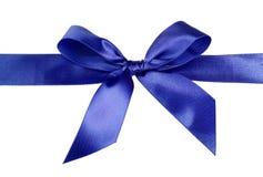 Satin blue ribbon bow stock image