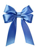Satin Blue Ribbon Bow Royalty Free Stock Photo