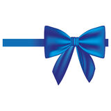 Satin blue ribbon and bow wrapping Royalty Free Stock Photo