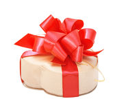 Satin box in the form of heart with red bow for St. Valentine`s Stock Images