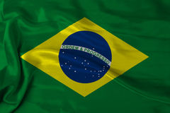 Satin Brazil flag. Satin texture Brazil flag waving