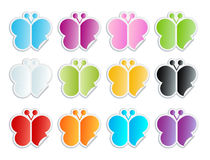 Satin butterfly peel-off stickers Stock Images