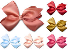 Satin color ribbons. Gift bows. Stock Photo