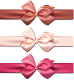 Satin color ribbons. Gift bows. Stock Images