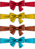 Satin color ribbons. Gift bows. Stock Photos