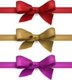Satin color ribbons. Gift bows. Royalty Free Stock Image