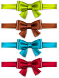 Satin color ribbons. Gift bows Royalty Free Stock Images