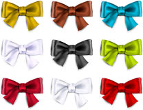 Satin color ribbons. Gift bows Stock Photos