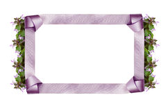 Satin frame and bow with flowers Stock Photography