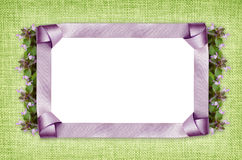 Satin frame and flowers Stock Photo