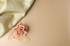 Satin on golden background with leaves. Flat lay. Top view Royalty Free Stock Photos