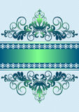 Satin green ornament with stripes and ribbon Stock Images