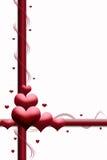 Satin Heartshapes in Rotem und in weißem Stockbild