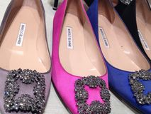 Satin and jewel-embellished women shoes Royalty Free Stock Photography