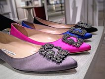 Satin and jewel-embellished women shoes Stock Image