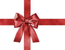 Satin red ribbon bow Royalty Free Stock Photo