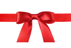 Satin red ribbon bow Stock Photos