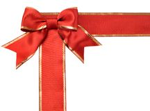 Satin red  ribbon bow Stock Image