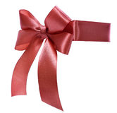 Satin red ribbon bow Stock Photo