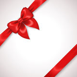 Satin Red Ribbon with Bow  on White Royalty Free Stock Photography