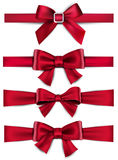 Satin red ribbons. Gift bows. Royalty Free Stock Images