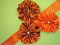 Satin ribbon-flowers Royalty Free Stock Photos