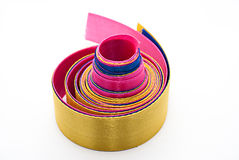 Satin ribbons. Hank of multi-colored satin ribbons on a white background  isolated Royalty Free Stock Photo