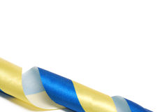 Satin ribbons the Ukrainian flag. Royalty Free Stock Images