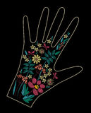Satin stitch embroidery design with colorful flowers. Folk line floral trendy pattern on glove decor. Ethnic fashion. Ornament for hand on black background royalty free illustration