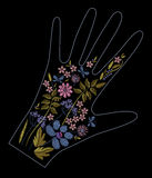 Satin stitch embroidery design with colorful flowers. Folk line floral trendy pattern on glove decor. Ethnic fashion Stock Photography