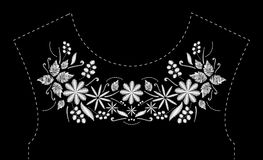 Satin stitch embroidery design with flowers. Folk line floral trendy pattern for dress neckline. Ethnic black and white. Fashion ornament for neck on black Royalty Free Stock Photography
