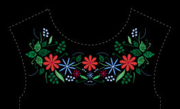 Satin stitch embroidery design with flowers. Folk line floral trendy pattern for dress neckline. Ethnic fashion ornament Royalty Free Stock Photography