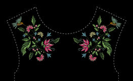 Free Satin Stitch Embroidery Design With Flowers And Birds. Folk Line Floral Trendy Pattern For Dress Neckline. Ethnic Royalty Free Stock Image - 92290176
