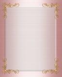边界正式邀请粉红色satin wedding 库存照片