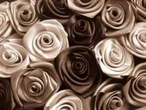 Satiny roses. Romantic composition from satiny roses. Sepia stock image