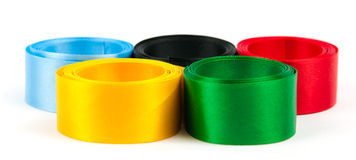 Satiny tapes combined in the form of Olympic rings. The image of satiny tapes in the form of Olympic rings Stock Photos