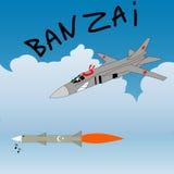 Satire humor sketch. Russian plane attacks the turkey rocket.  Stock Photos