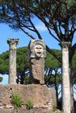 Satiric mask in Ostia Antica Stock Photos